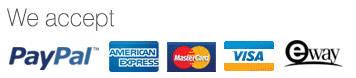 Paypal American Express, Master Card, Visa and eWay Logos